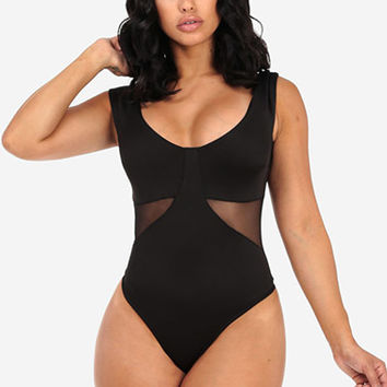 Black Thong Bodysuit with Mesh Back