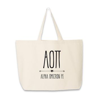 Sorority Name with Boho Design Tote Bag - All 26 NPC Organizations Available