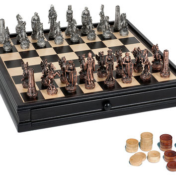 Chess & Checker Set with Storage, Indoor Games