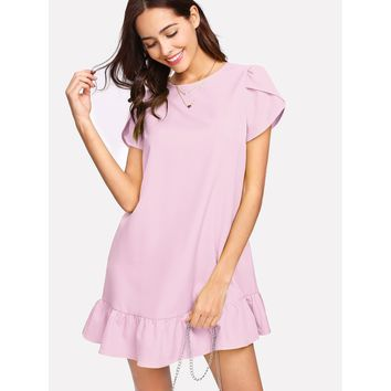 Petal Sleeve Ruffle Hem Dress Pink