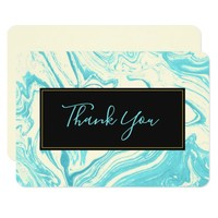 Fancy Marble in Turquoise and Cream Thank You Card