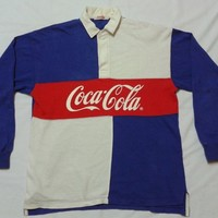 RARE Vintage Coca Cola Polo Rugby Long Sleeve Colour Block Shirt Nice