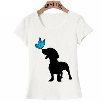 My Best Friend Dachshund and butterfly Print T-Shirt Summer Women T-shirt Funny Dog Print Casual Tops maiden Tees cool shirts