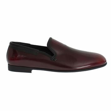 Dolce & Gabbana Bordeaux Patent Leather Dress Loafers