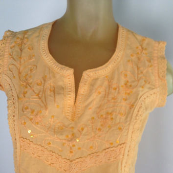 Yellow India Blouse, Embroidered Cap Sleeve Boho sequined Peasant Top shirt cotton v neck lace trim hippy shirt S small ruffle sparkle