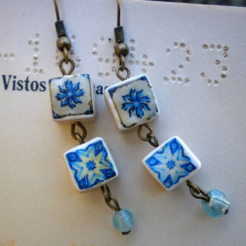 Porto Portugal Blue Tiles Replica Earrings (see actual Facade photos) WATERPROOF and REVERSIBLE