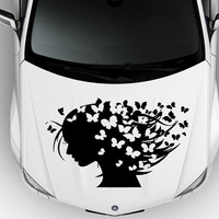 Vinyl Decal Sticker for Car Hood  fits any Auto Vehicle Girl Long Hair Butterfly Beauty Salon TK8 In 25 Colors