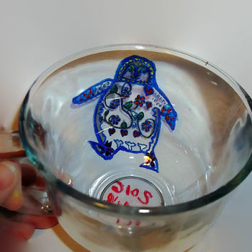 Glass Coffee Tea or Soup Mug with Hand Painted Adorable Penguin and Zentangle Pattern Art Handmade Gift Idea Unique Gift Animal Lover