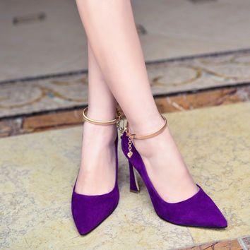 Summer Pointed Toe Leather Ring Metal Chain High Heel Elegant Shoes [4919908164]
