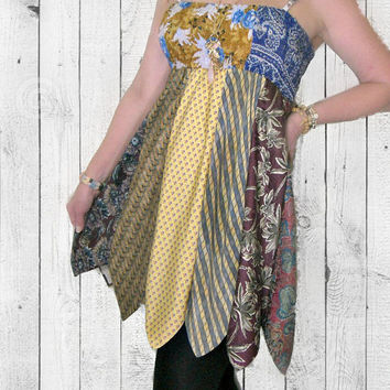 OOAK Upcycled Necktie Dress, ON SALE-20% OFF! Wear as top OR skirt! Altered Clothing by Pandora's Passions