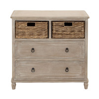 Benzara Stylish and Multipurpose Wood Basket Dresser