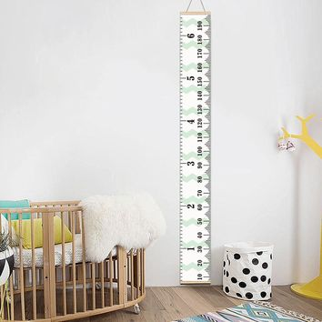 Personalized Removable Canvas Growth Chart Kid Height Chart Wooden Wall Hanging Kids Room Wall Decorative Measure Height Sticker