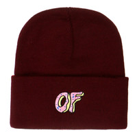 OF DONUT BURGUNDY BEANIE