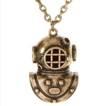 1- Divers Helmet Necklace Deep Sea Diving Gear Nautical Scuba Jewelry Mens and Womens Finished Necklace