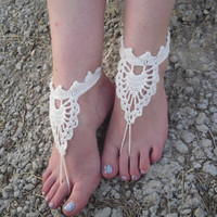 Free Shipping! Handmade Crochet Barefoot Wedding Sandals With Wooden Beads Foot Accessories Foot Jewerly Beach Summer