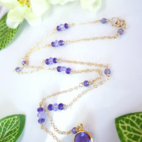 Purple amethyst framed glass gold necklace, lavender fields amethyst necklace