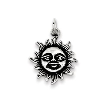 Sterling Silver 20mm Antiqued Sun Pendant