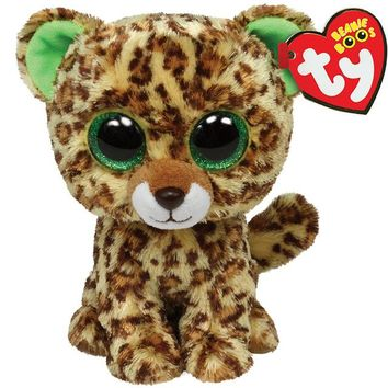 "Pyoopeo Ty Beanie Boos 6"" 15cm Speckles Leopard Plush Regular Big-eyed Stuffed Animal Collection Soft Doll Toy with Heart Tag"