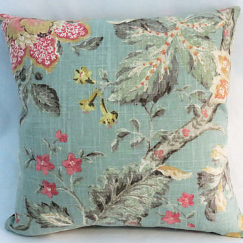 "Aqua Pink Yellow Floral Pillow, 17"" Square Linen, Cottage Chic, Vintage Look Flowers, Zipper Cover Only or Insert Included, Ready to Ship"