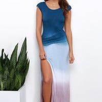 Geode to Joy Navy Blue Dip-Dye Maxi Dress