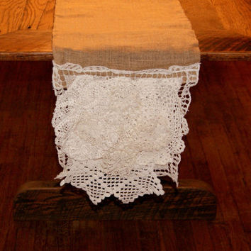 Table Runner Burlap Jute Vintage Lace Crochet Doily Ivory Rustic Luxurious