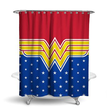 DC Comics Wonder Woman Stars Shower Curtain