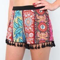 BOHEMIAN TRIBAL HERBAL FLORAL TASSEL FRINGED HEM FESTIVAL SHORTS 8 10 12 14