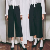 Black High Waist Cropped Pants