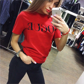 Hot Sale Summer Women's Fashion Alphabet Print Round-neck Short Sleeve Cotton T-shirts [10357223629]