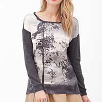 LOVE 21 Scenic Sateen Panel Top Charcoal/Taupe