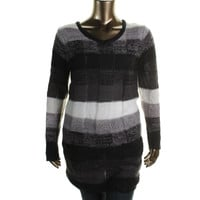 Extra Touch Womens Plus Knit Striped Pullover Sweater