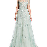 Monique Lhuillier - Beaded Short-Sleeve Gown - Saks Fifth Avenue Mobile