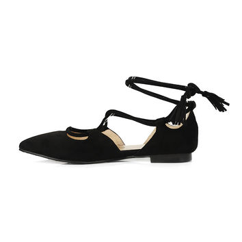 Lena Lace Up Pointed Toe Flats