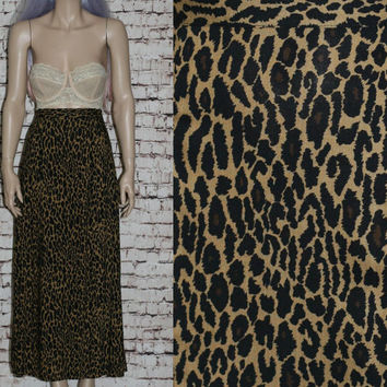 90s High Maxi Skirt Leopard Print Grunge Hipster Pastel Goth Cyber Boho Festival Gypsy Punk Gothic Brown Rayon S M Small Medium