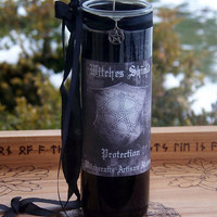 WITCHES SHIELD Pentacle Power Protection Vigil Ritual Spell Jet Black Glass Jar Candle, Hoodoo, Warding, Shielding, Banishing, Defense