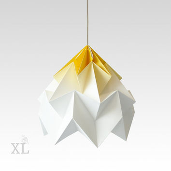 XL Moth origami lampshade gradient yellow