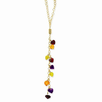 14K Yellow Gold Multi-Color Heart Gemstones Necklace