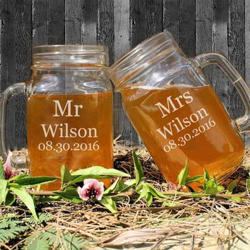 Mr & Mrs Couple Mason Jars for Drinking Personalized Wedding Mason Jar Cups Custom Name and Dates Anniversary/Party Gifts Favors