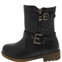 812KM BLACK KIDS QUILTED RIDING BOOT