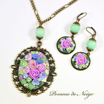 Floral Pendant and Earrings Spring Romantic Jewelry Floral Jewelry Set Necklace Vintage