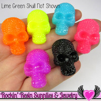 5 pc Neon SKULL Cabochons Faux Rhinestone Halloween Decoden Kawaii Cabochon 32x20mm
