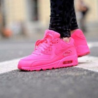 ONETOW Sale Nike Air Max WMNS 90 Gs Hpyer Pink Running Shoes Sport Shoes 345017-601