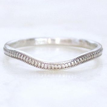 Pebbles Curved or Straight Engraved Wedding Band
