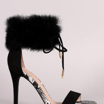 32717d617d2d Shoe Republic LA Furry Ankle Cuff One Band Stiletto Heel