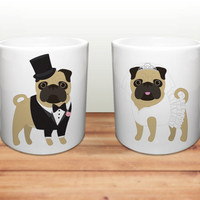 Pug Coffee Mugs - Wedding Pugs Ceramic Mugs  - Pug Lover Wedding Gift - Pug Mugs - Set of 2 Mugs - Pug Lover Gift - Pug Wedding