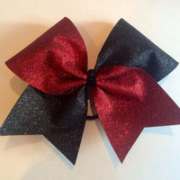 Cheer Bow - Red and Black Glitter