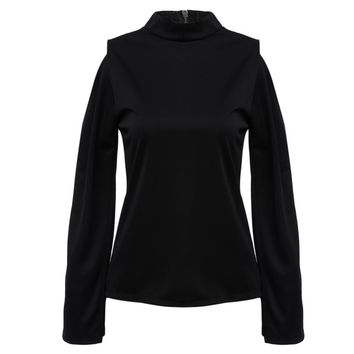 Trendy Stand Collar Asymmetrical Long Sleeve Pure Color Blouse