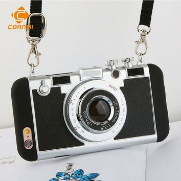 3D Retro Camera Phone Case Cover With Strap For Apple iPhone 7