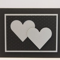 Double Heart Silver Wedding or Anniversary Hand Made Card