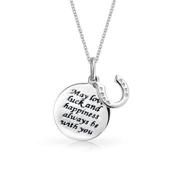 Equestrian Mantra Inspirational Quote Round Disc CZ Horseshoe Pendant
